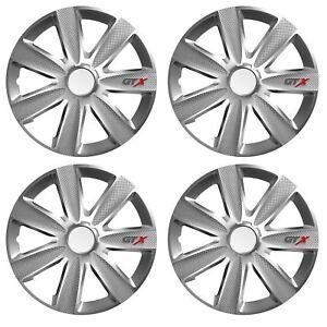 UKB4C Set of 4 14 Silver Wheel Trims//Hub Caps fits Citroen C1 C2 C3 Saxo
