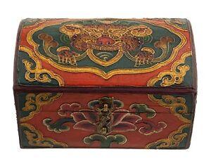 Cofanetto A Ciondolo Tibetano- Mini Tronco IN Legno Dipinto Chepu 15x9.5cm 7154