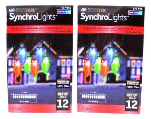 2 Boxes Gemmy Synchro Lightshow Color Changing C9 LED Lights 12 Count #177 916