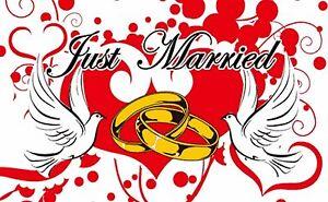 "JUST MARRIED mini flag 9"" x 6"" 22cm x 15cm flags MARRIAGE WEDDINGS WEDDING"