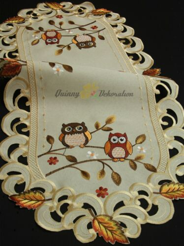 Owl Tablecloth Table runner Doily Cushion cover Linen-look Cream Autumn Fall NEW