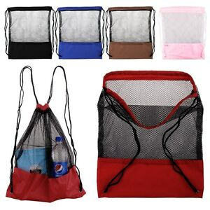 018ee014465e Image is loading Mesh-Drawstring-Backpack-Tote-Sport-Pack-Swimming-Shopping-