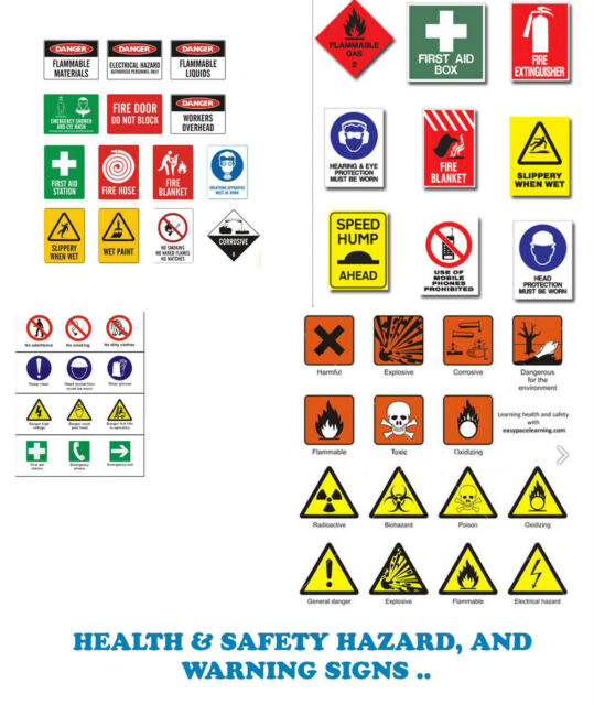 Health And Safety Hazard Warning Signs Posters Collection Over
