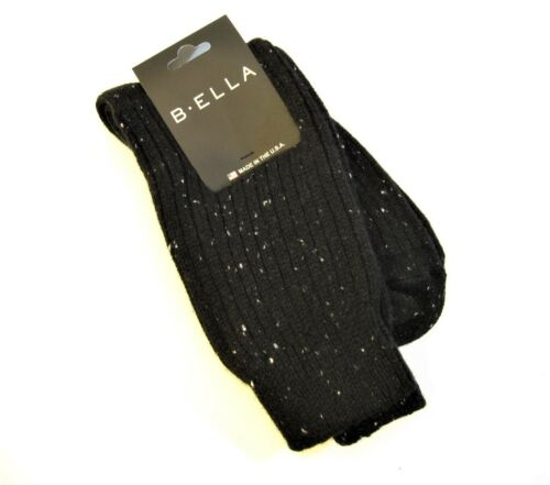 b.ella Ladies 93% CASHMERE Crew Socks Bulky Rib Speckle Layla Caviar Black - NEW