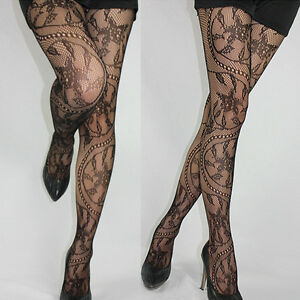 Sexy-Black-Women-Jacquard-Lace-Fishnet-Pantyhose-Tights-Stockings