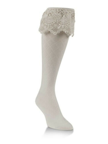 World/'s Softest Socks Ivory Lace Boot Sock Weekend Collection-Sassy Knee-Hi