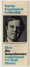 1978 JIM SENSENBRENNER Wisconsin CONGRESS US House POLITICAL Brochure SHOREWOOD