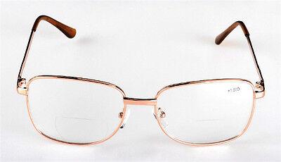 Bifocal Reading Glasses Clear Metal Eyeglass Reader +1.0 1.5 2.0 2.5 3.0 3.5 4.0