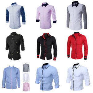 Formal-Mens-Long-Sleeve-Shirt-Luxury-Casual-Slim-Fit-Stylish-Dress-Shirts-Tops