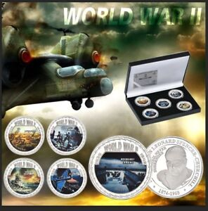 WR-5X-Great-Battles-of-World-War-2-Commemorative-Coin-Medal-Set-w-Coin-Gift-Box