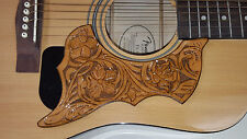 Leather pick guard Acoustic Guitar Custom Hand Tooled Leather  floral brown