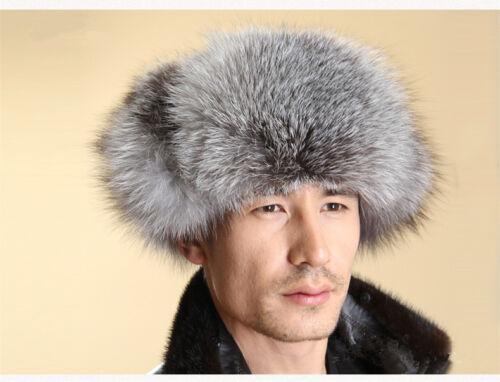 Hommes Véritable Fox fourrure Russe Chapeau Trappeur Ushanka Cossack Hiver Chaud Ski Fourrure Cap