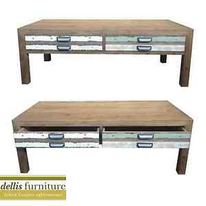 NEW-Rustic-Shabby-Sunny-Range-Elm-Timber-Colourful-2-Drawer-Coffee-Table