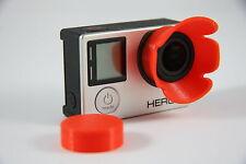 Sonnenblende Lens Hood f. GoPro Go Pro HERO 3+, 4  Linse Sun Shade rot