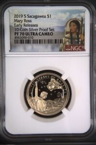 2019-S-Sacagawea-Dollar-1-Mary-Ross-NGC-PF70-UC-Early-Releas-10-coin-Silver-set