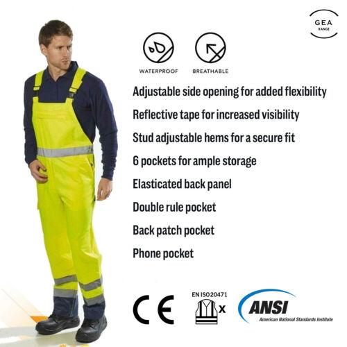Portwest Hi Vis Safety Bib /& Brace Unlined Breathable Waterproof Waterproof S388