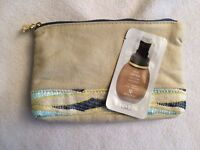Sisley Waves Pouch Cosmetic Makeup Bag Case + Free Foundation Sample (2+ Sand)