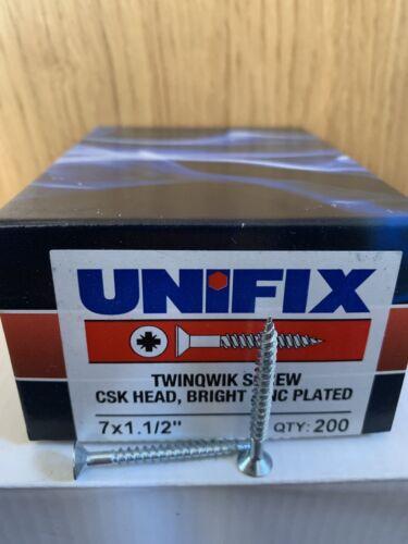 """UNIFIX twinqwik vis couronne tchécoslovaque Head Bright Zinc Plaqué Pozi Boîte de 200 Taille 7x1.1//2/"""""""