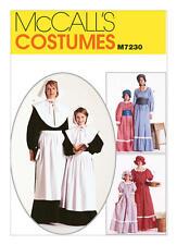 McCall's Sewing Pattern 7230 Misses Colonial Costume Bonnet Pioneer Pilgrim 8-10