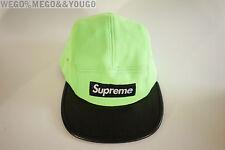 Supreme Neoprene Neon Green Black Leather Camp Cap Hat Strapback Box Logo