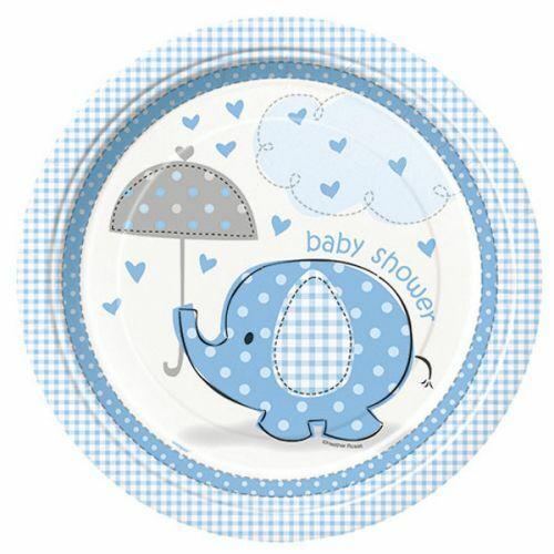 Baby Shower Teller blau Elefant Partydeko Babyparty Deko Geburt Junge Boy Party