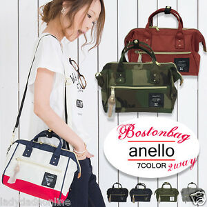 bbab6a653c Image is loading Japan-ANELLO-Handle-Polyester-Canvas-Shoulder-Boston- Handbag-
