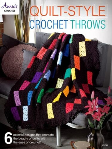 Crochet Pattern Book QUILT STYLE THROWS ~ 6 Colorful Afghan Designs
