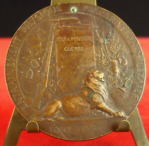 Medal-Force-Courage-Military-Lion-Signed-P-Grandhomme-Medal-Si-Screw-Pacem