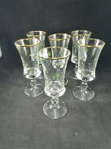 Vintage-Set-of-6-Shamrock-Liqueur-Cordial-Gold-Rimmed-Pedestal-Glasses-Irish