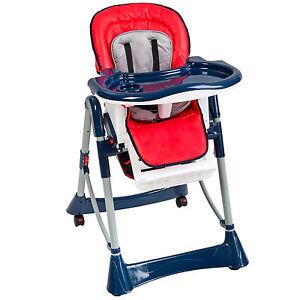 Trona de bebe Silla para niños con bandeja y bebés rojo/azul de altura regul