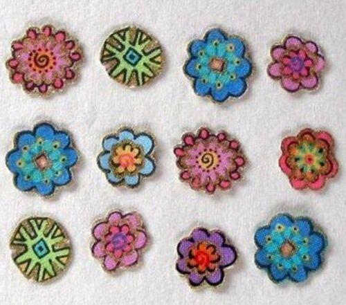 Twelve Mini FLOWER Iron On Appliques*Handmade*Laurel Burch Fabric//YY