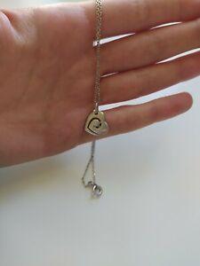 Pendentif coeur en argent avec cristaux Swaroski et chaine fine en argent