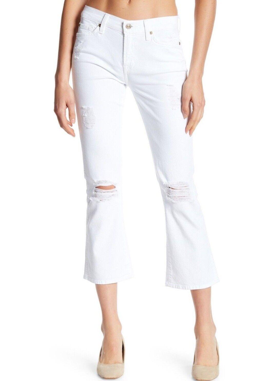Nwt 7 für Alle Sz26 Abgeschnitten Stiefel Distressed Hohe Größe Jeans Stretch