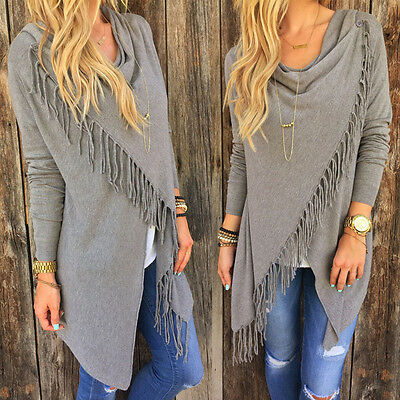 New Women Long Sleeve Knitted Cardigan Loose Sweater Outwear Jacket tassels Coat