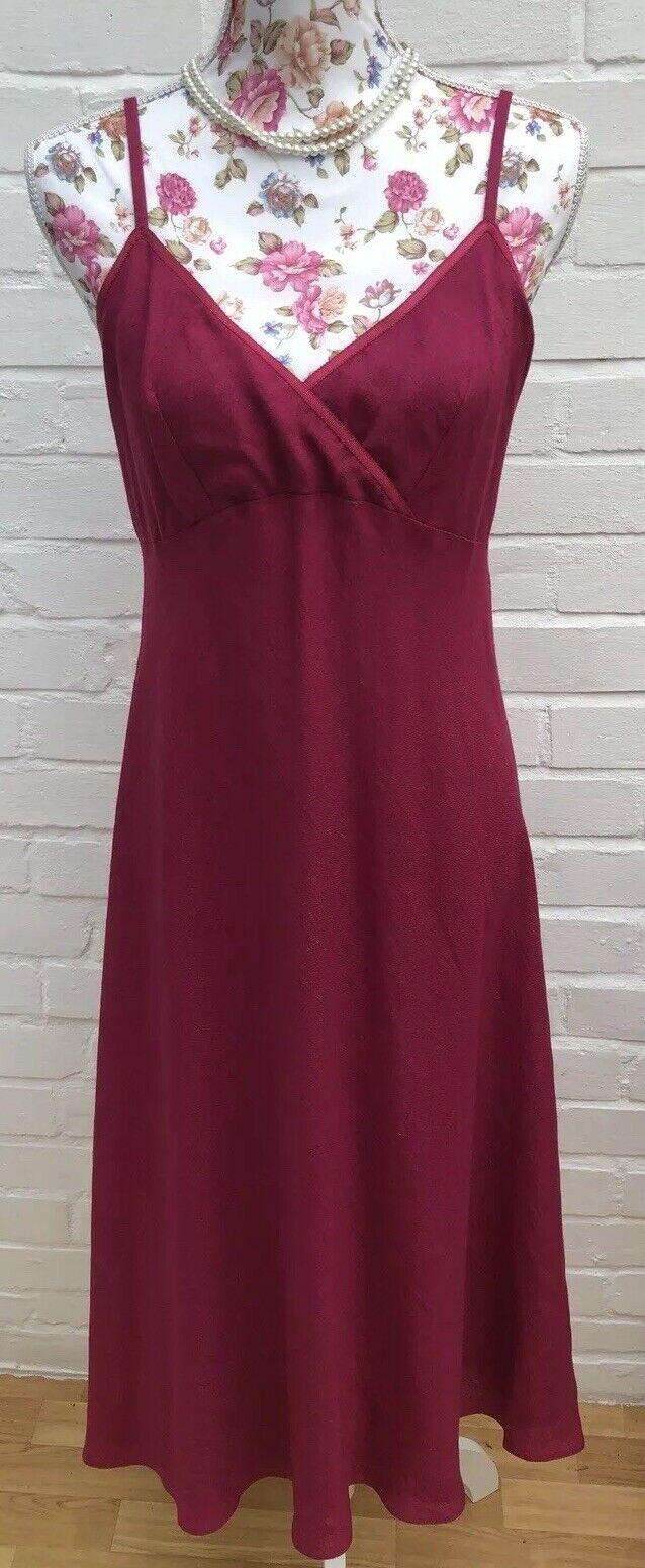 Jigsaw Linen Blend Dress Size 12 Fit Flare Magenta Long Wedding Summer Strappy