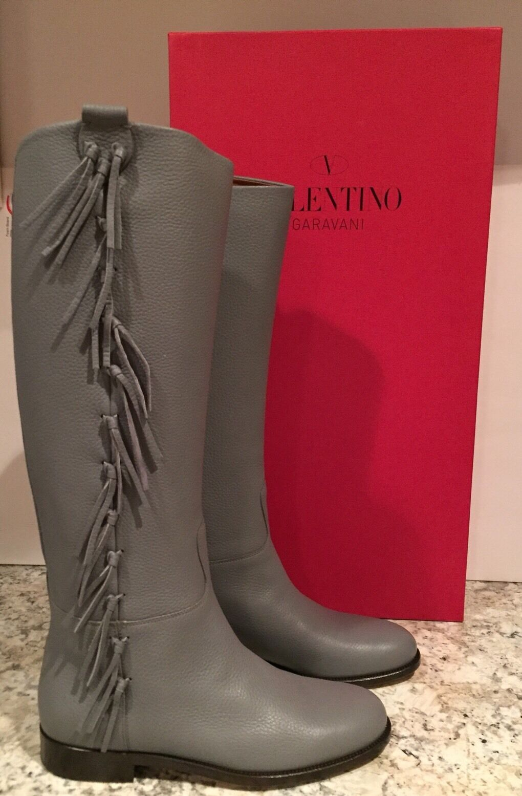 Valentino Garavani Riding Boots Flat Knee High Tall Fringe Grey 40.5 10  1845