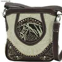 Western Horse Head & Rhinestone Studded Cross Body Hipster Purses Bag