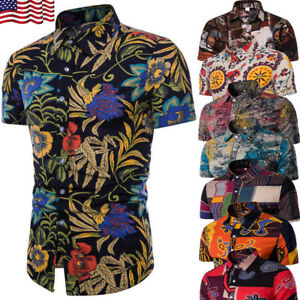 Men-039-s-Summer-Hawaiian-Casual-Dress-Shirt-Men-Floral-Short-Sleeve-Shirts-Tops-Tee