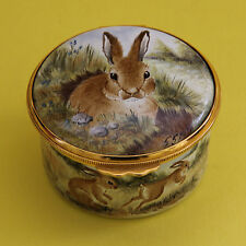 Kingsley Enamels Moorcroft Hand Painted Enamel Pill Box Rabbits Very Rare