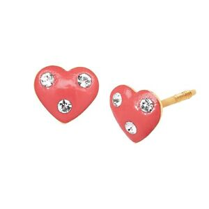 Crystaluxe-Girl-039-s-Pink-Heart-Stud-Earrings-with-Swarovski-Crystals-in-14K-Gold
