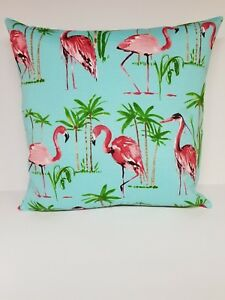 Flamingo Pink Blue Ocean Outdoor Fabric Pillow Covers 20