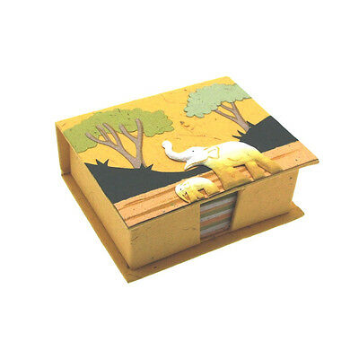 Yellow Fair Trade Eco Maximus Elephant Dung Paper Note Cube Jotter Block