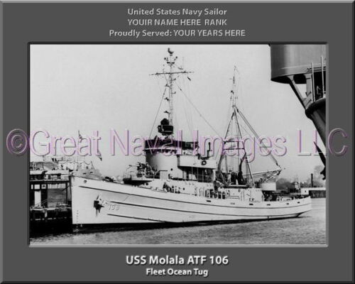 USS Molala ATF 106 Personalized Canvas Ship Photo Print Navy Veteran Gift