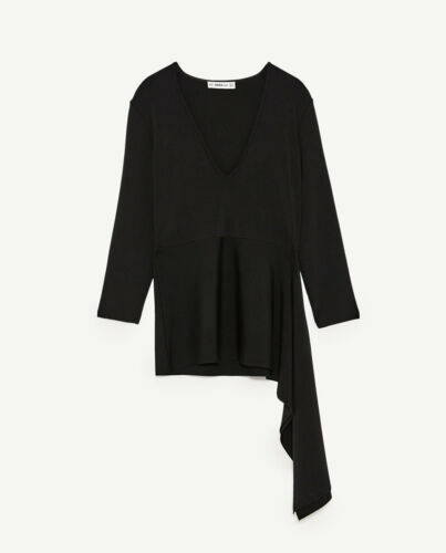 RT$49.90 S; M; L ZARA V-Neck Black Top Asymmetric Hem Long Sleeve New Sizes
