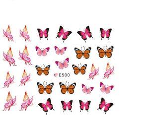 Nail-Art-Decals-Stickers-Transfers-Spring-Summer-Butterflies-Butterfly-E500