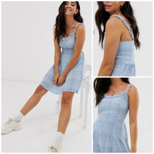 NEW LOOK ladies blue check summer holiday beach sundress 6 8 10 12  14 16 18