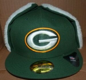 120d8c5c0 NEW NFL Green Bay Packers FITTED Dog Ear Cap Hat Flat Brim 7 3 8 New ...