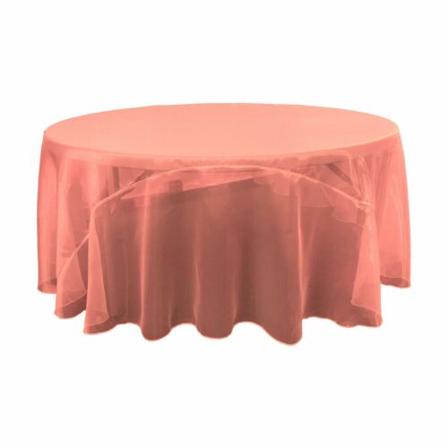 Made in USA LA Linen Sheer Mirror Organza Tablecloth 108-Inch Round