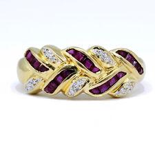 .30 Carat Red Ruby princess cut Diamond Cocktail Ring 18k yellow gold