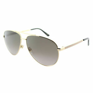 f89498fbbc380 Gucci GG0137S 001 Gold Metal Aviator Sunglasses Brown Gradient Lens ...